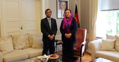 H.E. Mrs. Shukria Barakzai meets with new Indian Ambassador, H.E. Mr. Krishan Kumar