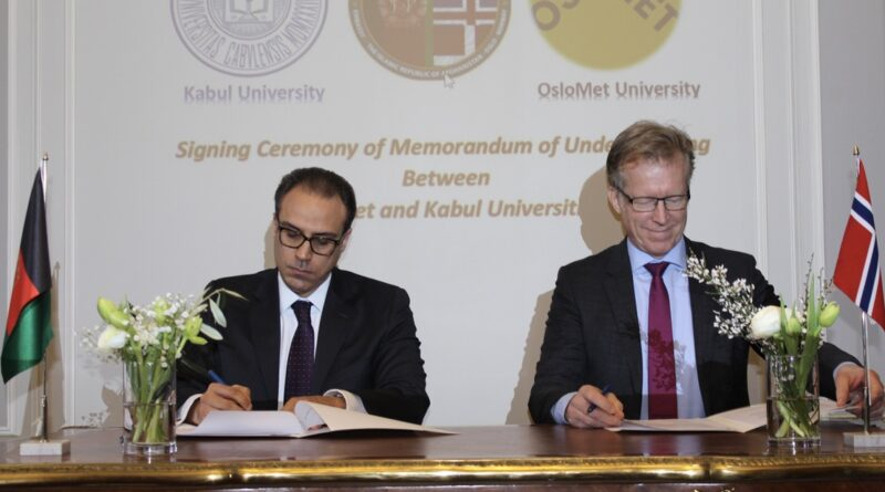 Signing of Memorandum of Understanding on Academic Partnership Between Oslo Metropolitan and Kabul Universities.
